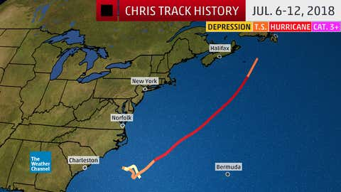 Track history of Hurricane Chris from July 6-12, 2018.
