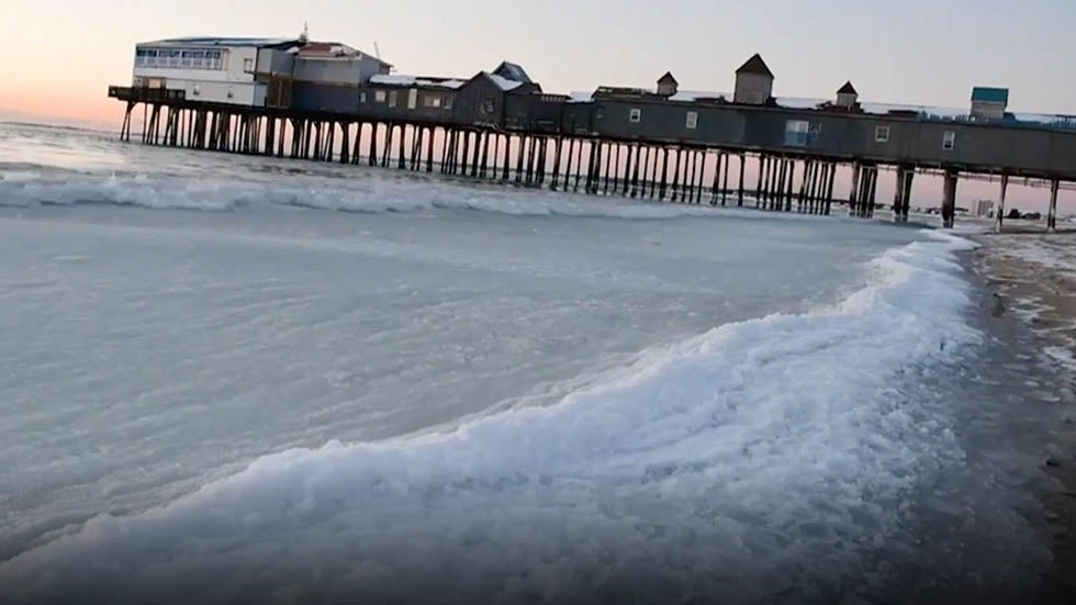 Watch: Waves Freeze Instantly on Maine Beach