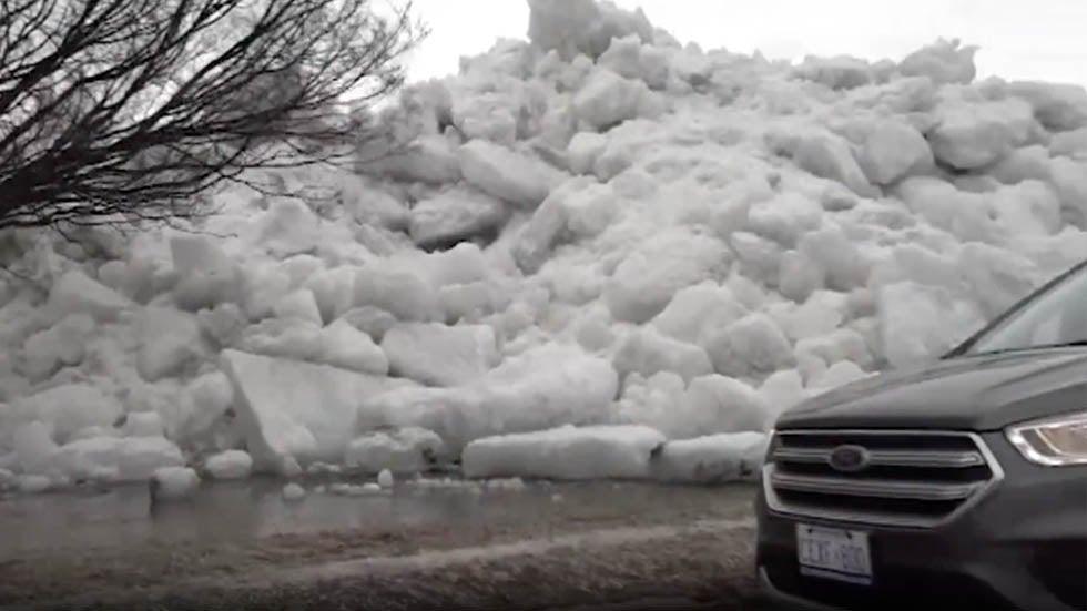 Massive Ice Chunks Push Ashore at Lake Erie