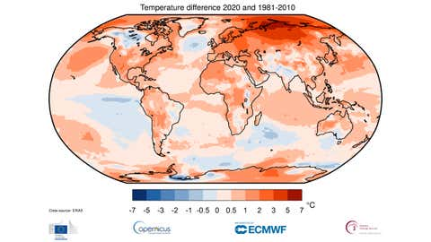 Air temperature at a height of two metres for 2020, shown relative to its 1981–2010 average. Source: ERA5. (Copernicus Climate Change Service/ECMWF)
