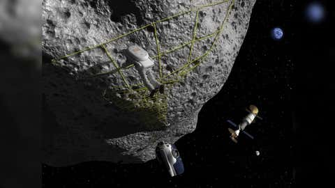 In the concept of this artist, an astronaut performs a tether maneuver on an asteroid.  (NASA)