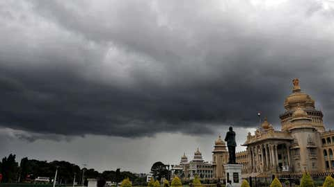 File photo of clouds hovering over Vidhana Soudha in Bengaluru (IANS)