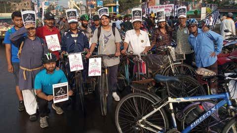 Members of the Kolkata Cycle Samaj on the occasion of World Women's Day at Eden Gardens, Kolkata. (Raghu Jana)