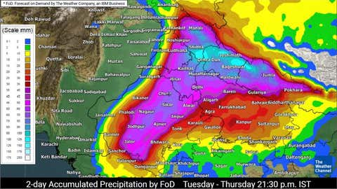 24-hour rainfall accumulation forecast from Monday 9.30 pm to Tuesday 9.30 pm IST (TWC Met Team)