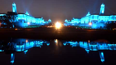 On the occasion of World Children's Day 2020, Rashtrapati Bhavan's North Block and South Block were light up Blue to put a spotlight on the impact of Climate Change and COVID-19 on children (Piyal Bhattacharjee / BCCL, Delhi)