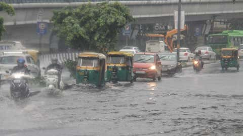 Waterlogging in Jangpura after early morning rains in New Delhi on Tuesday, July 27, 2021. (Wasim Sarvar/IANS)