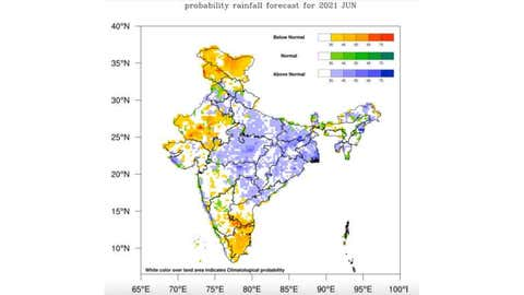 Blue shadings over a region quantify the chance of witnessing above normal rainfall in June 2021 (e.g. there is around 45% chance of above-normal rainfall in Madhya Pradesh). Yellow and red shadings quantify the probabilities of below-normal rainfall. (IMD)