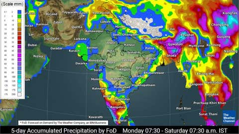 Five-day rainfall accumulation forecast for India from Monday to Friday (TWC Met Team)