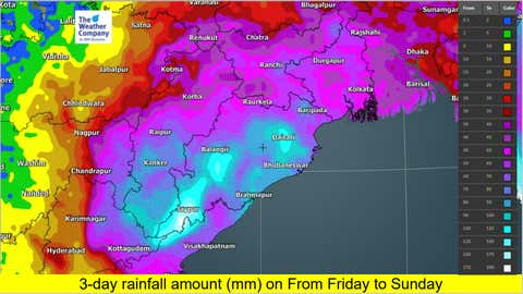 Monsoon rainfall accumulation forecast over Odisha and West Bengal from Friday to Sunday this week. (TWC Met Team)