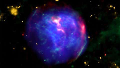 Supernova remnant G344.7-0.1, located 19,600 light years from Earth (NASA/CXC/Tokyo Univ. of Science/K. Fukushima, et al/JPL/Spitzer/CSIRO/ATNF/ATCA)
