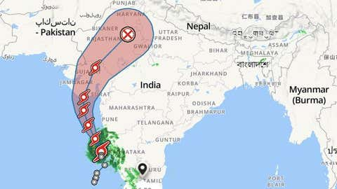 Track forecast for Cyclone Tauktae (weather.com)