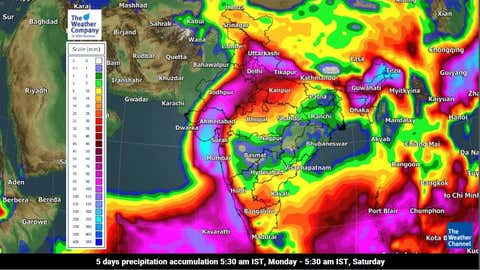Rainfall accumulation forecast for the next five days from Monday to Saturday morning due to Cyclone Tauktae (TWC Met Team)