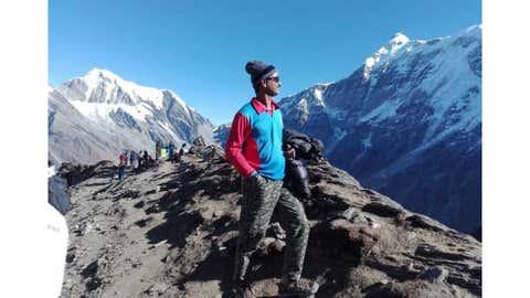 Vinod Mankar poses after reaching the summit. (Vinod Mankar)