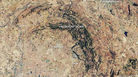 A photograph of the Vredefort Crater taken using Landsat data from the U.S. Geological Survey. (Lauren Dauphin/NASA Earth Observatory)