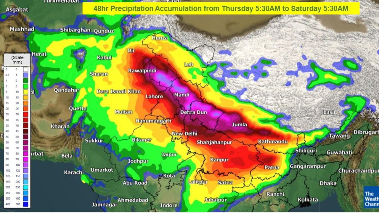Rain, snow, thunderstorms, lightning, and hailstorms are forecast across north and north-central India.