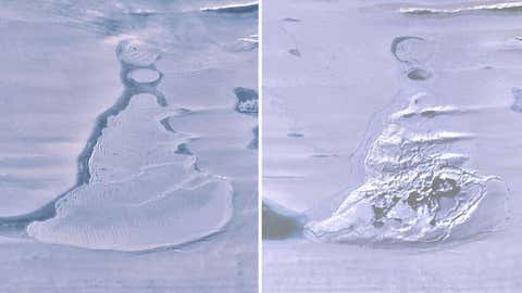 Landsat 8 images over the Southern Amery Ice Shelf show the ice-covered lake before drainage and the resulting ice doline with summer meltwater. (Geophysical Research Letters)