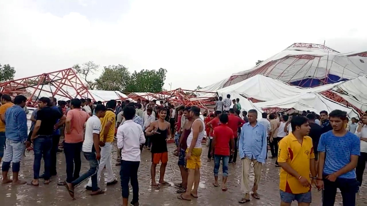 People in Barmer were gathered in the tent for listening to the Ram Katha organized by a local temple.