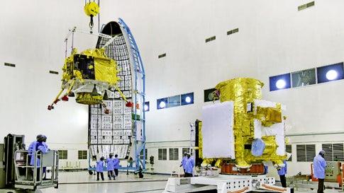 Hoisting of Vikram lander during chandrayaan2 spacecraft integration at launch centre. (Photo: ISRO)