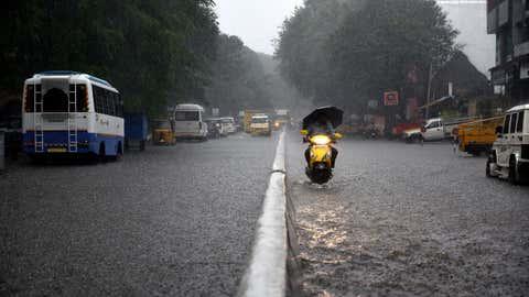 Rajamannar Salai in KK Nagar get waterlogged post heavy rains in Chennai, Tamil Nadu on Tuesday, January 5. (C Suresh Kumar/BCCL Chennai)