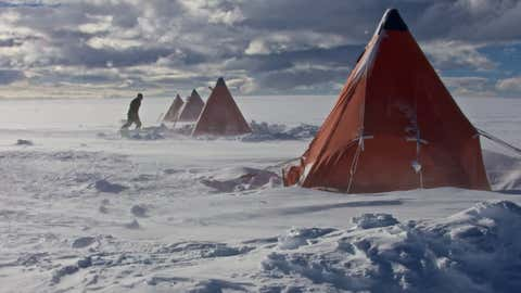 Drilling camp on James Ross Island, northern Antarctic Peninsula. (Jack Triest)
