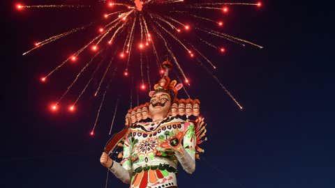An effigy of Ravana for the Dussehra celebration at Kasturchand Park in Nagpur, Maharashtra; Tuesday, October 8. (Photo: Madhu Kumre/TOI Nagpur)