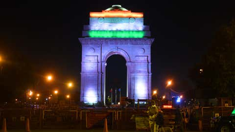 A view of the India Gate just moments after its lights were turned off for Earth Hour 2020; New Delhi. (Rajesh Mehta/TOI, Delhi, BCCL)