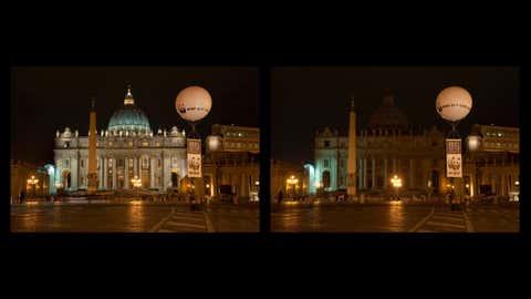 Earth Hour celebrations at the Roma Vaticano Piazza San Pietro. (©Alfonso Maria Mongiu/WWF-Italy)