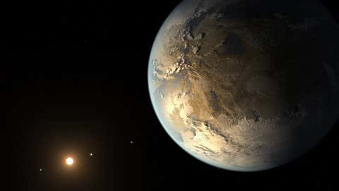 This illustration depicts Kepler-186f, the first validated Earth-size planet to orbit a distant star in the habitable zone. (NASA Ames/JPL-Caltech/T. Pyle)