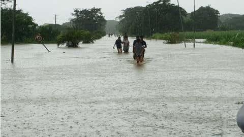 Kota Ba di pulau Viti Levu dilanda banjir di Fiji pada tanggal 29 Januari 2021. (FIJI SUN / Dokumen via Xinhua)