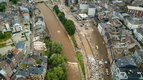 Aerial photo taken on July 16, 2021 showing a scene after flooding in Verviers, Belgium.  (Xinhua / Zhang Cheng / IANS)