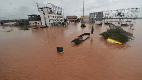 The torrential downpour led to severe flooding in Kolhapur. (Rahul Gayakwad/TOI, BCCL)