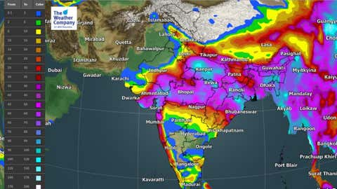 5-day rainfall amount (mm) from Friday to Tuesday. (TWC Met Team)