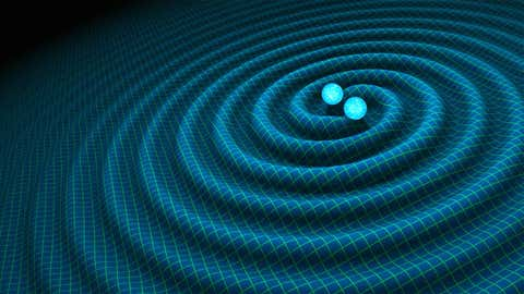 An artist's impression of gravitational waves generated by binary neutron stars. (R. Hurt/Caltech-JPL/NASA)