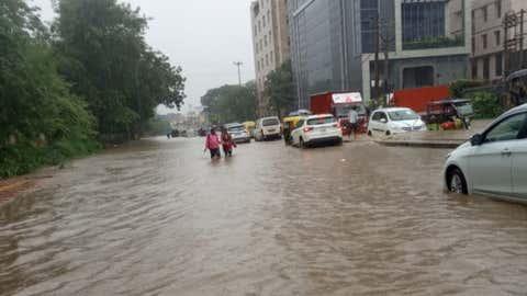 Heavy rains led to waterlogging in Gurgaon. (IANS)