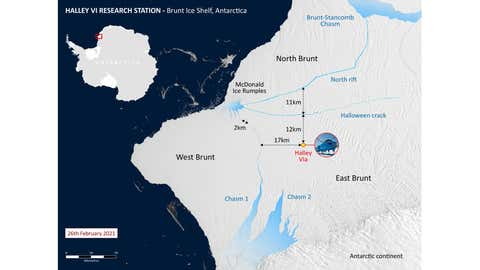 Map of Brunt ice shelf and Halley Research Station. (British Antarctica Survey)