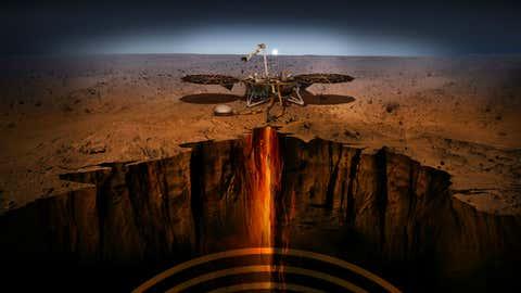 An artist illustration of the InSight Lander on Mars. (image: NASA/JPL-Caltech)