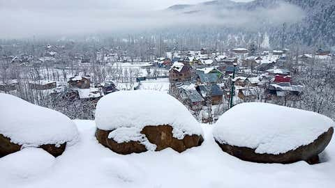 A view of Tangmarg North Kashmir during heavy snowfall across the valley on January 6.