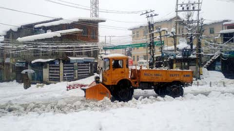Snow clearance operation in progress in Srinagar, which received heavy snowfall disrupting the normal life on Wednesday.