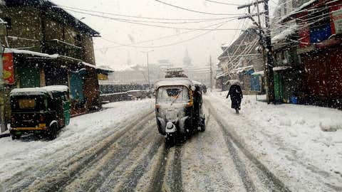 A view of heavy snowfall in Srinagar from January 5.