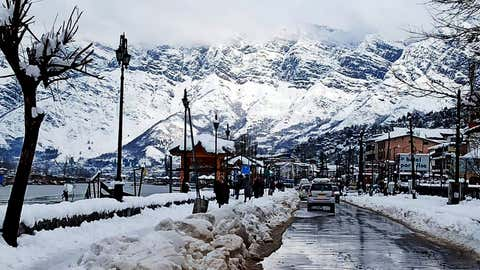 A picturesque view of snowclad mountains in Srinagar on January 6.