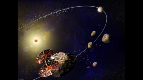Artist image of the Lucy mission. (NASA)