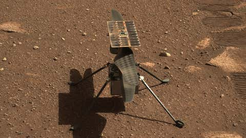 NASA's Ingenuity Mars helicopter is seen here in a close-up taken by Mastcam-Z, a pair of zoomable cameras aboard the Perseverance rover. This image was taken on April 5, the 45th Martian day. (NASA/JPL-Caltech/ASU)