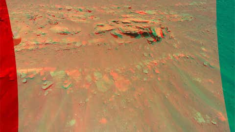 """This 3D view of a rock mound called """"Faillefeu"""" was created from data collected by NASA's Ingenuity Mars Helicopter during its 13th flight at Mars on Sept. 4, 2021. (NASA/JPL-Caltech)"""