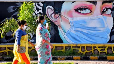 A wall painting raising awareness on wearing of masks by NMMC at a jogging area in Vashi. (K.K. Choudhary/BCCL Mumbai)