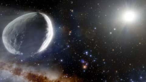تمثيل الفنان للمذنب برناردينيلي-بيرنشتاين يتقاطع مع النظام الشمسي.  (NOIRLab / NSF / AURA / J. Da Silva (مركبة فضائية))