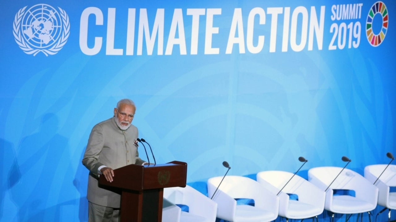 "PM Modi reminded the gathering that India's policy on climate change action is guided by the principle of 'need, not greed'. The landmark summit witnessed a surprise attendance from the US President Donald Trump. ""We believe that an ounce of practice is worth more than a tonne of preaching,"" Modi said underlining the urgency to act."