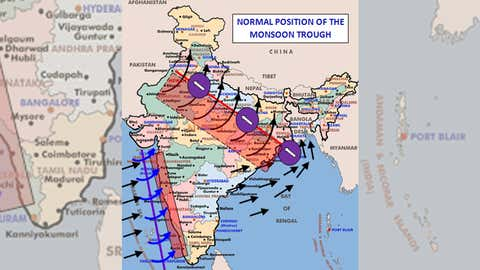 The normal position of the monsoon trough (India Meteorological Department (IMD))