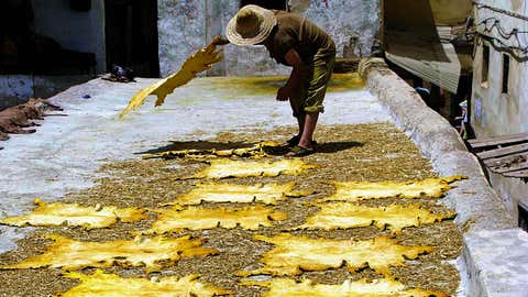 Hides drying in the sun at Chouara Tannery in Fez, Morocco. (Emily Yuko Hallett, 2009).