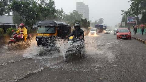 Heavy rain causes waterlogging in Turbhe, Navi Mumbai on Thursday, June 17. (KK Choudhary/BCCL Mumbai)