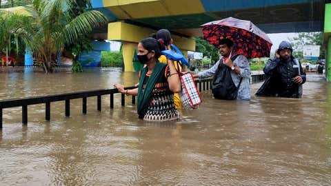 Incessant heavy rains led to severe waterlogging in parts of Navi Mumbai. (KK Choudhary/TOI, BCCL, Mumbai)